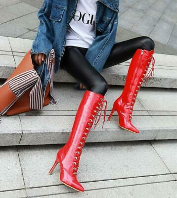 Occident Sexy Womens Pointed Toes Lace Up Patent leather Knee High Boots Shoes