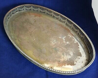 Beautiful Vintage Heavy Silver Plated Gallery Tray by Viners