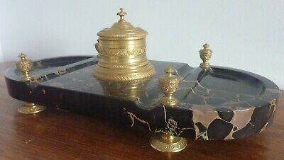 Antique French Empire Ormolu Bronze Inkwell with Marble Stand