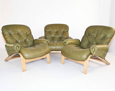 Danish 3 Lounge Easy Chairs By Oddvin Rykken For Rybo Norway Vintage Retro