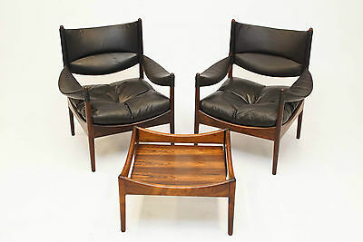 Danish Pair Of Kristian Solmer Vedel Rosewood Modus Chairs And Coffee Table