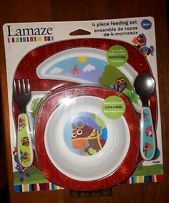 Lamaze Toddler 4 Piece Red Donkey Feeding Set  [ New ]  Fork, Spoon, Plate, Bowl
