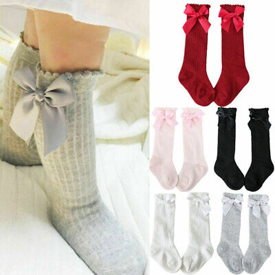 UK Cute Baby Girl Knee Calf High Cotton Socks Spanish Style Bow Tights Stockings