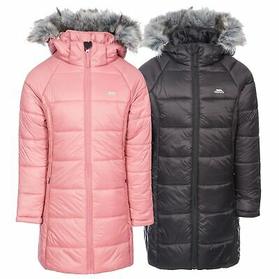 Trespass Elimore Girls Padded Jacket Quilted Coat With Hood In Pink & Black