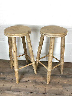 Pair of Stripped Pine Stools - Delivery Available