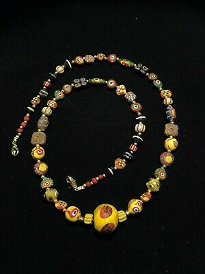Ancient Roman Multicolored Roman Glass Beads Necklace