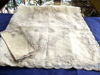 "Antique Pina Organdy 46""sq Tablecloth 6 Napkins FAB Philippines Hand Embroidery"