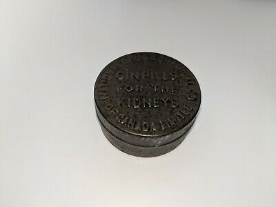 Antique Gin Pills For The Kidneys Empty Tin National Drug & Chemical Co. Ltd Box