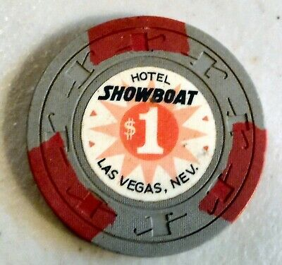 """$1. Vintage Casino Chip """"Hotel Showboat"""" Las Vegas Uncirculated, New"""