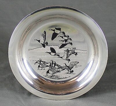Solid Silver Plate After Peter Scott John Pinches Barncale Geese over the Solway