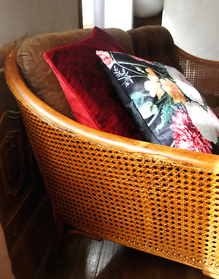 CANAPé BANQUETTE 2 PLACES VINTAGE CANNAGE ROTIN BAMBOU ASSISE VELOURS FIN 60