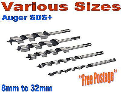 Auger SDS+ wood drill bits joiner carpenter fast cut 8mm To 32mm