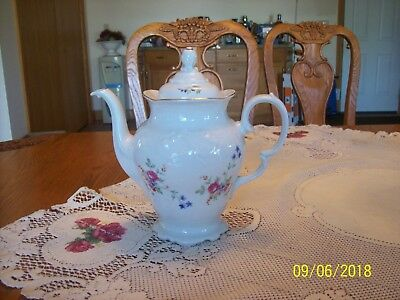 Wawel Made In Poland Vintage Spring Floral Bouquet Porcelain China Coffee Pot