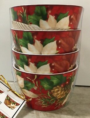 222 Fifth Poinsettia Holly Appetizer Dessert Bowls Set Of 4 Christmas Holidays