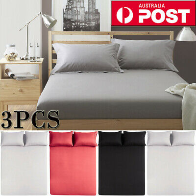 3Pieces 1200TC Fine Brushed Microfiber Sheet Set Bedding Queen/King/Double