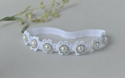 Christening Baby Headband white flowers Diamante Rhinestone, Baptism UK Handmade