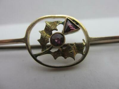 Scottish Thistle Tourmaline 9k Gold Brooch Pin Antique Victorian c1890. tbj08440