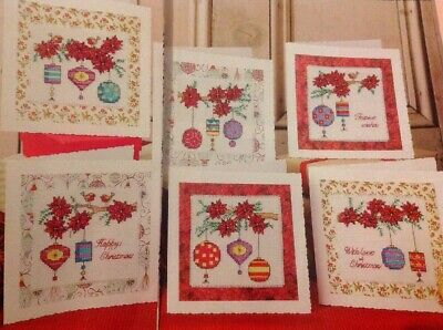 (X9) Poinsettia Flowers Baubles Robin Cards Christmas Cross Stitch Chart