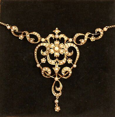 STUNNINGLY BEAUTIFUL ANTIQUE VICTORIAN 15ct GOLD & NATURAL SEED PEARL NECKLET