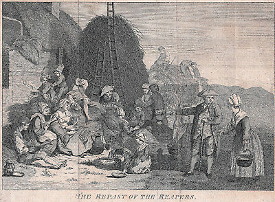 """Early 1700s English Engraving of Farm Workers at Rest. """"Repast of the Reapers"""""""