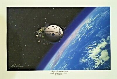 """Off We Go"" Major Yuri Gagarin 1st Man To Orbit the Earth by Mark Karvon '16x24'"