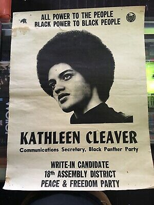 Authentic Kathleen Cleaver Black Panther Campaign Poster Vintage