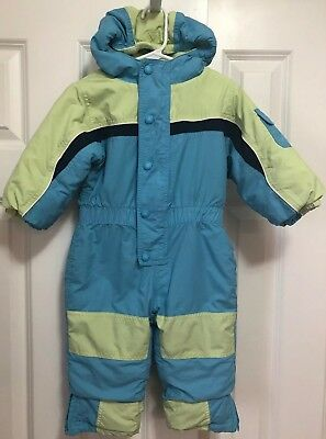 LL Bean Infant 12-18 Months Snowsuit Blue Green Hood Warm Thick Lined