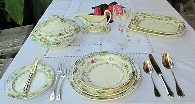 "1930`s ""THE SONGSTER"" SPODE DINNER SET 6 PERSON SETTING PLUS SERVING PIECES"