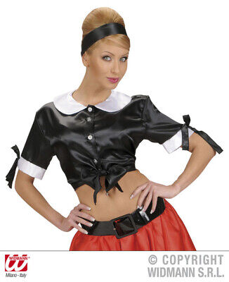 Ladies Satin Black 50s Tie Tops Rockabilly Rock N Roll 50s Fancy Dress