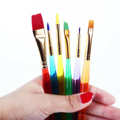 6pcs Kids Art Paint Brushes With Plastic Handle for Artist Kids Painting Tool