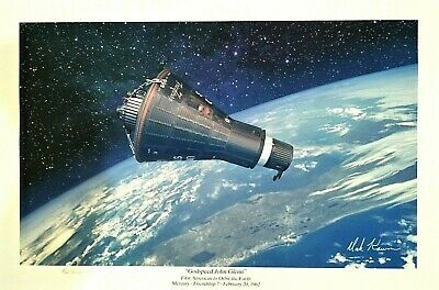 'Godspeed' John Glenn Friendship 7 1st American To Orbit Earth Mark Karvon 16x24