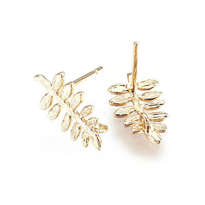 10pcs Brass Drawbench Leaf Earring Posts Back Loop 18K Gold Plated Studs 14.5mm