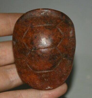 "2.4""Ancient Chinese,Hongshan Culture,Red Stone ,Jade,turtle shell,pendant Amulet"