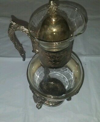 "Coffee Carafe Warmer 9"" Glass Vintage Silver Plate With Candle warmer"
