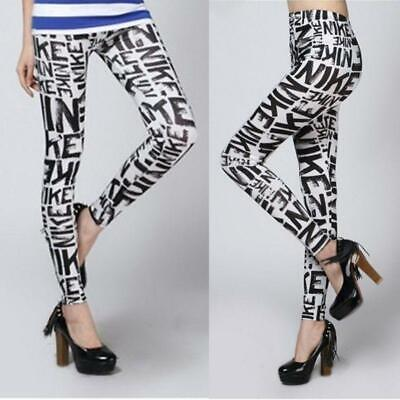 Women Mid Rise Alphabet Letters Printed Leggings Ankle-Length Yoga Workout Sport
