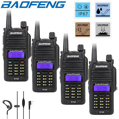 4x Baofeng IP67 Waterproof Two Way Radio UHF VHF Walkie Talkies 5W Transceiver