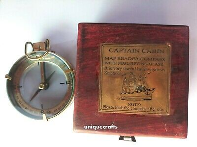 Nautical antique brass vintage spencer & co. lens compass w/ rosewood wooden box