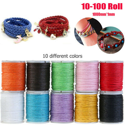 10-100 Roll 10m Waxed Cotton String Jewelry Making Bracelet DIY Thread Cord 1MM