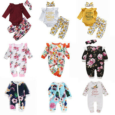 UK Newborn Baby Girl Flower Ruffle Romper Bodysuit Jumpsuit Outfit Clothes 0-18M
