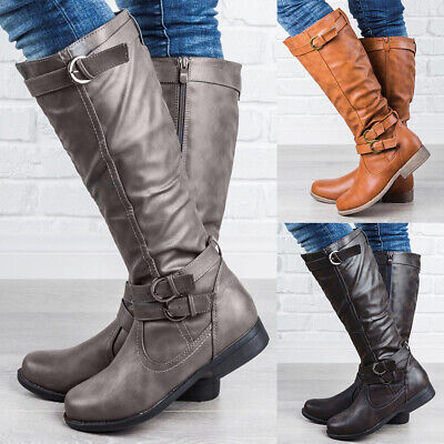 Womens Knee High Riding Boots Ladies Leather Mid Calf Zipper Buckle Shoes Size
