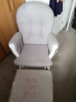 Outstanding Babylo Milan Glider Chair And Footstool White Grey Baby Machost Co Dining Chair Design Ideas Machostcouk