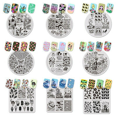 5pcs Nail Art Template Stamping Plate Nail Steel Stamp Much Pattern Tools Set