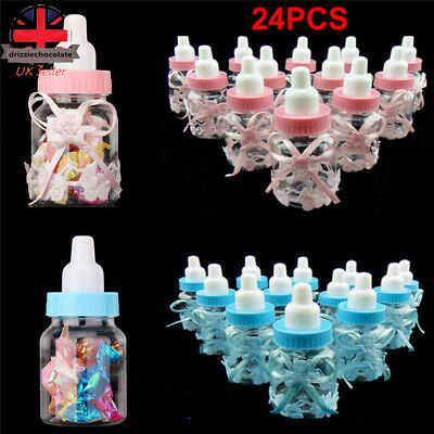 24X Fillable Bottles Candy Box Baby Shower Baptism Party Favour Christening UK