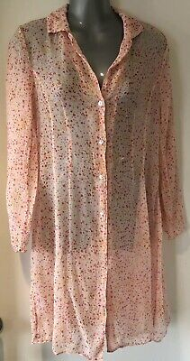 Victoria's Secret Pink Dotted Silk Crinkled Nightdress/Shirt Pyjama Top Small