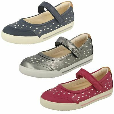 Girls Kids Clarks Lil Folk Lou Hook & Loop Casual Mary Jane Summer Shoes Size