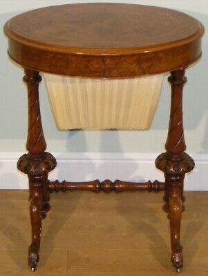 Good Quality Antique 19Th Century Burr Walnut Oval Side Occasional Work Table