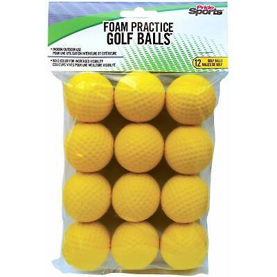 Pride Sports Soft Dimpled Foam Practice Indoor Outdoor Yellow Golf Balls 12-Pack
