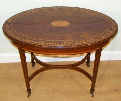 Good Quality Antique Edwardian Mahogany & Inlaid Oval Center Occasional Table