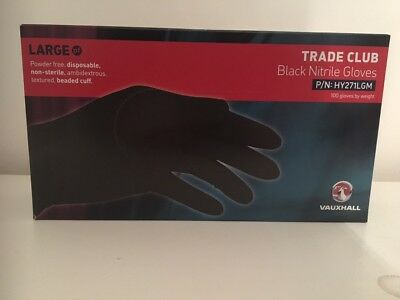 6 X Boxes Of Nitrile Gloves Black GM Trade Club Size LARGE 100PK = 600 Gloves