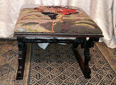 Delightful Antique Tapestry 'Cockerel Padded Stool-Tapestry Seat-22 Inches Wide-